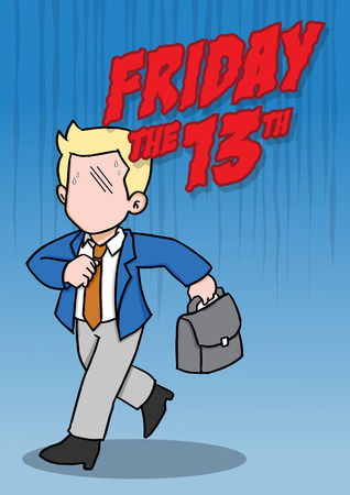 An illustration of superstitious businessman about friday the 13th