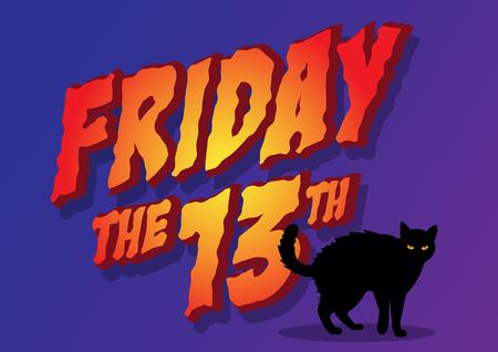 Una ilustración de un gato y el viernes del 13 Foto de archivo - 99064952