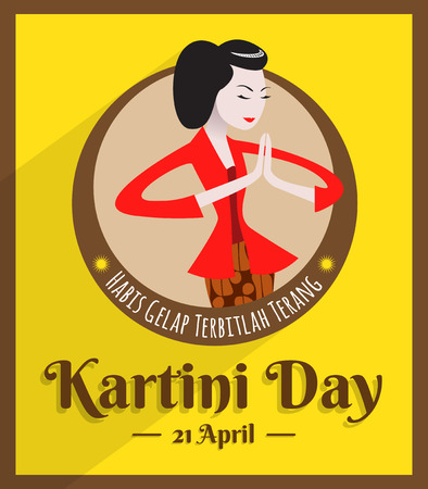 Kartini Day, Raden Adjeng Kartini is the female figure and the woman heroes of indonesia and human right in Indonesia Illustration