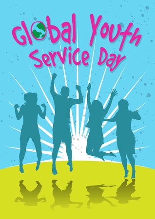 An illustration of group of young people jumping, celebrating global youth service day