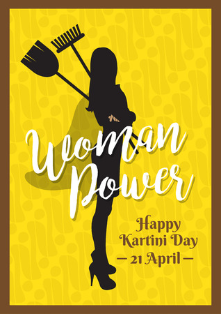 Kartini Day, Raden Adjeng Kartini female figure and   woman heroes of indonesia and human right in Indonesia, woman power Vector illustration.