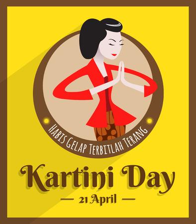 Kartini-dag, Raden Adjeng Kartini, de vrouwelijke figuur en de vrouwenhelden van Indonesië en mensenrechten in de vectorillustratie van Indonesië.