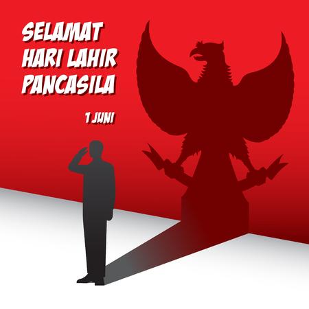 Una ilustración del saludo del hombre a Pancasila, marca la fecha del discurso de Sukarno de 1945 sobre la ideología nacional Ilustración de vector