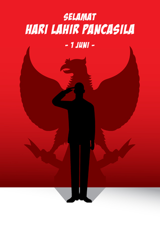 An Illustration of man salute to Pancasila, marks the date of Sukarnos 1945 address on the national ideology Ilustração