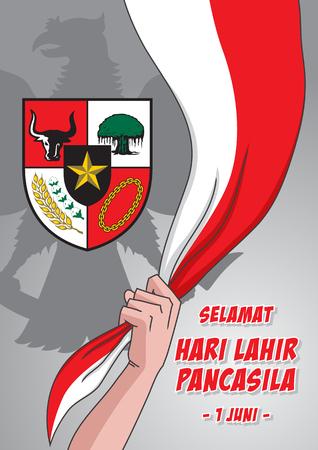 Una ilustración del hombre sostiene la bandera de Indonesia con el símbolo de Pancasila, marca la fecha del discurso de Sukarno de 1945 sobre la ideología nacional