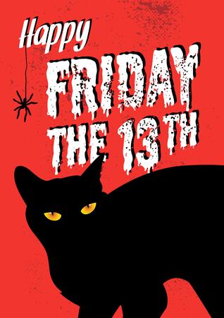 Een illustratie van zwarte kat met vrijdag het 13e woord.