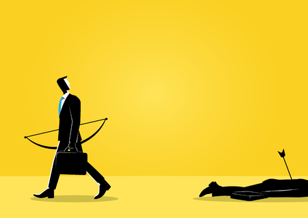 An Illustration of business concept, businessman walking with dead body left behind