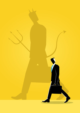 An Illustration of business concept, businessman walking with his evil shadow reflection