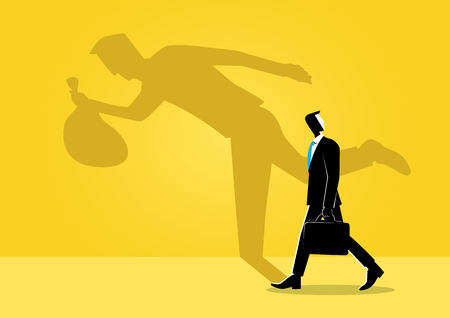 An Illustration of business concept, businessman walking with his shadow reflection