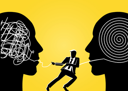 An illustration of a businessman trying to unravel tangled rope from giant head