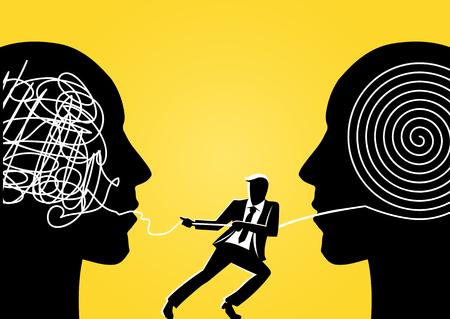 Una ilustración de un hombre de negocios que intenta desenredar la cuerda enredada de la cabeza gigante