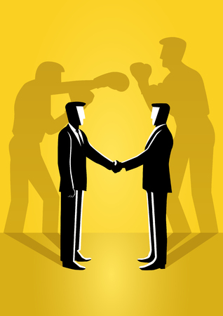 An illustration of two businessman shaking hand with their true reflection on the wall 向量圖像