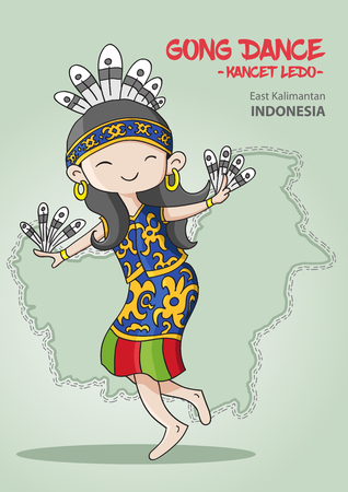 Traditional Indonesian dance from East Kalimantan Vetores