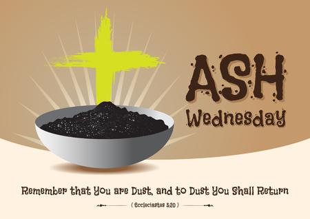 Mercredi des Cendres symbole chrétien religieux symbolique abstrait pour le début du Carême, avec croix de cendres