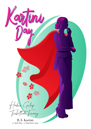 Kartini Day, Raden Adjeng Kartini is the female figure and the woman heroes of indonesia and human right in Indonesia Stock Illustratie