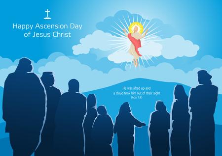 Een illustratie van de hemelvaart van Jezus Christus met zijn discipelen