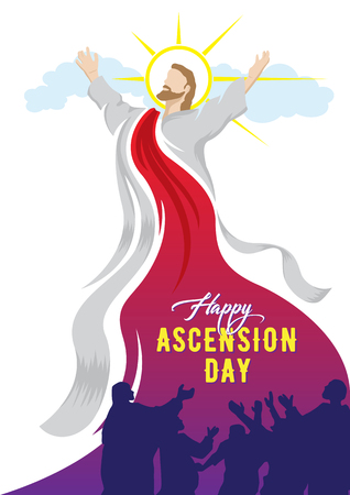 An illustration of the ascension of Jesus Christ with His Disciples Stock Vector - 119435329