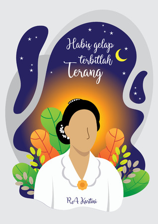 Kartini Day, Raden Adjeng Kartini is the female figure and the woman heroes of indonesia and human right in Indonesia Vettoriali
