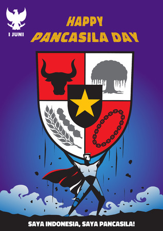An Illustration of superhero holding big Pancasila shield, marks the date of Sukarno's 1945 address on the national ideology