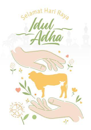 Eid al Adha with both hands closed together. selamat hari raya Idul Adha translates to Eid al Adha mubarak