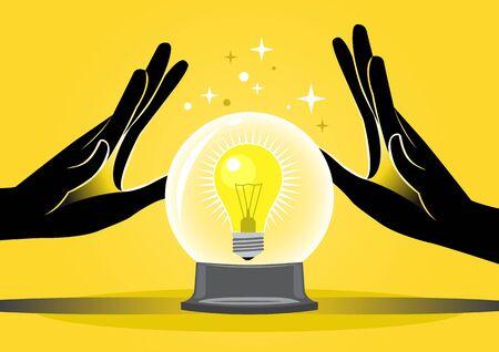 Business concept vector illustration of mans hands doing fortune teller
