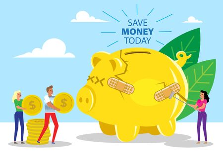 Illustration of Giant Broken Piggy Bank and people lining up to save the money