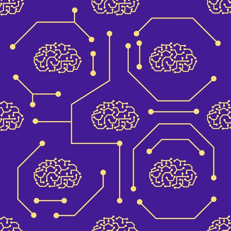 Seamless artificial intelligence, brain flat pattern on dark purple colour background