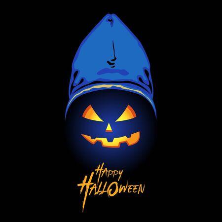 Illustration of pumpkin head wearing a hood on black background Foto de archivo - 129165298