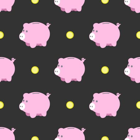 Illustration of seamless pinky piggy bank flat pattern on dark grey background