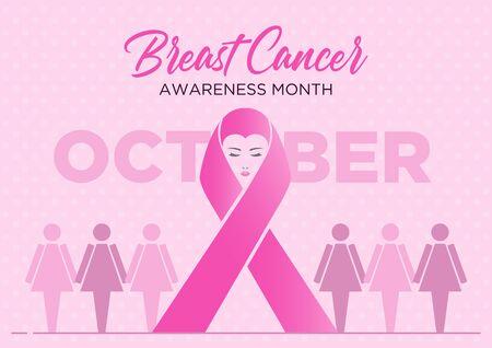 Illustration of giant breast cancer ribbon symbol on pink background
