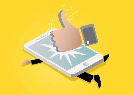 Illustration of giants like icon stumping on mobile phone and squashed businessman underneath it Иллюстрация