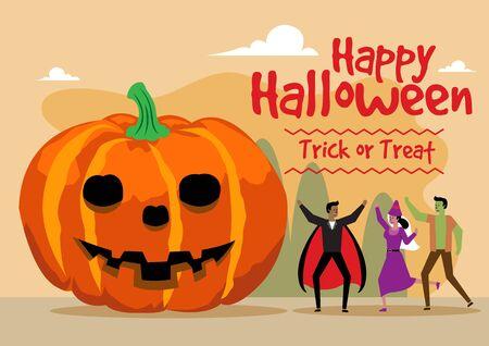 Happy Halloween celebration with giant pumpkin. Trick or treat. Vector illustration. Ilustração