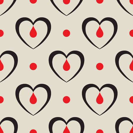 Seamless black heart with a blood drop flat pattern on light grey background Illustration