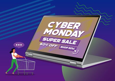 Illustration of Cyber Monday. Discount sale concept on laptop monitor. online shopping and marketing concept.