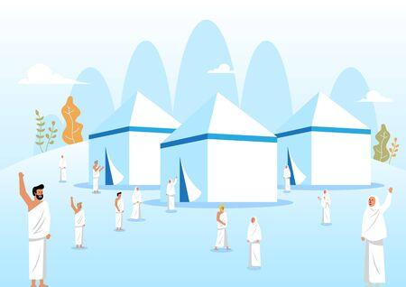 Muslim pilgrims at Mina tents area. One of Islams sacred pilgrimage route. Vector illustration Ilustração
