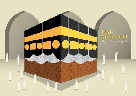 Hajj Muslim Around Kaaba Islamic, Vector Illustration Vetores
