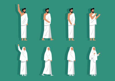 Set of Character Wearing Ihram, hajj clothing Muslims of various posing Vector Illustration
