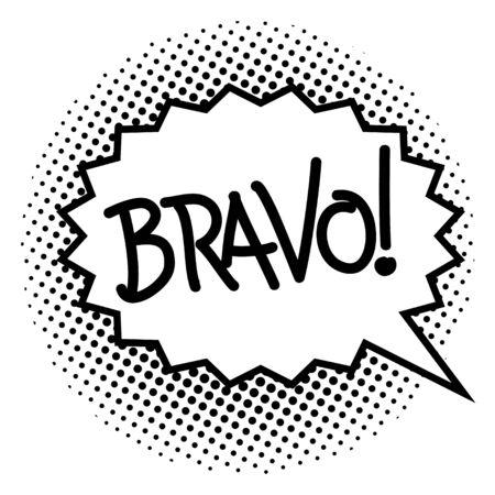 Bravo! wording comic speech bubble. Vector cartoon illustration in retro pop art style. Comic text sound effects. Stock Illustratie