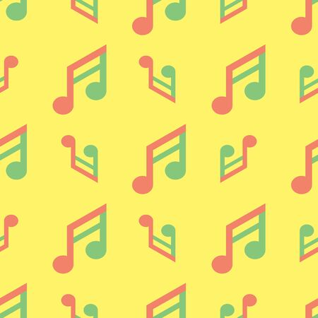 Seamless colorful note music flat pattern on yellow color background Stock Illustratie