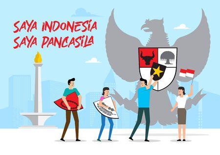 Indonesian symbol, Garuda Pancasila. Saya Indonesia, saya Pancasila means I am Indonesian, I am Pancasila. Vector Illustration Stock Illustratie