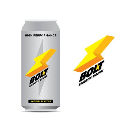 Bolt energy drink in a tin can. Cooling drink. Vector illustration