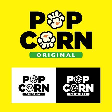 Popcorn logo design. Popcorn text label with popping. Vector illustration