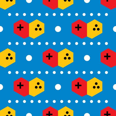Seamless game console flat pattern on blue color background Stock Illustratie