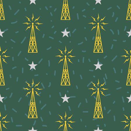 Seamless electric tower flat pattern on dark green background Stock Illustratie