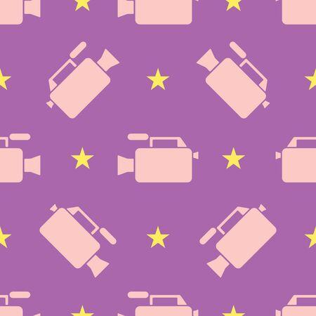 Seamless video camera flat pattern on light purple background