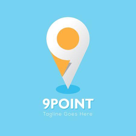 9 point company logo. Vector illustration