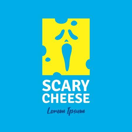 Scary cheese logo company. Vector illustration