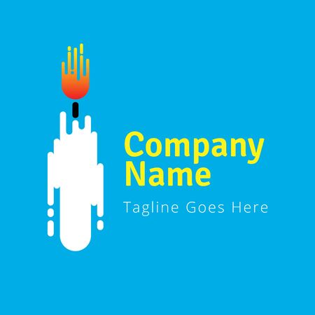 DIGITAL Custom logo design, white candle logo, Elegant Candle logo design inspiration Stock Illustratie