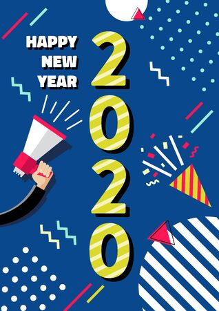 Design of a New Year card of 2020 on a modern geometric background. Geometric elements and multicolored numbers. Vector illustration