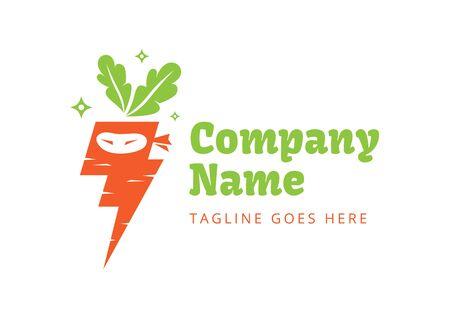 DIGITAL Custom logo design, Lighting carrot ninja logo, carrot logo design inspiration